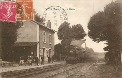 """CPA FRANCE 36 """"Clion, la gare"""" / TRAIN"""