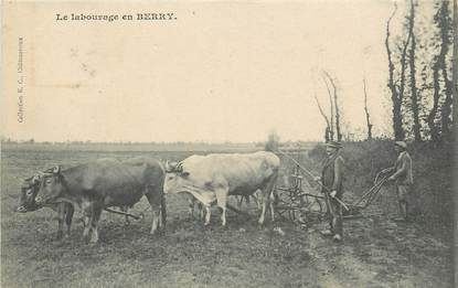 "CPA FRANCE 36 ""Labourage en Berry"" / ATTELAGE"