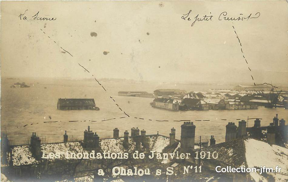 Carte photo france 71 inondations 1910 chalon sur saone for Plan de chalon sur saone 71