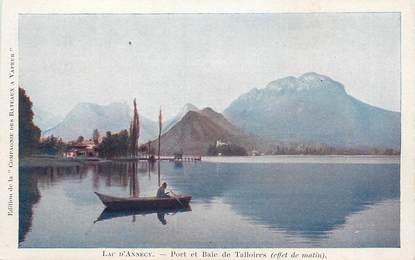 """/ CPA FRANCE 74 """"Lac d'annecy, port et baie de Talloires"""""""
