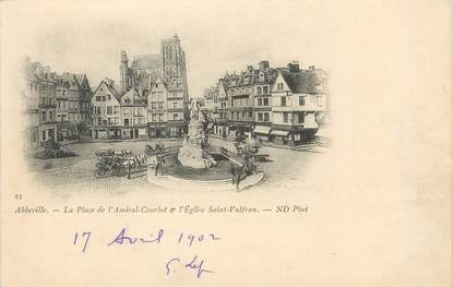 """/ CPA FRANCE 80 """"Abbeville, la place de l'Amiral Courbet et l'église Saint Vulfan"""""""