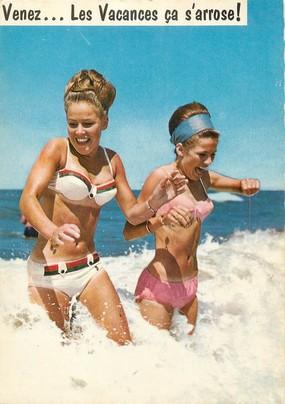 """/ CPSM BAIGNEUSES """"Jeunes femmes dans les vagues""""  /  NU"""