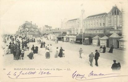 """/ CPA FRANCE 59 """"Malo Les Bains, le casino et la digue"""""""