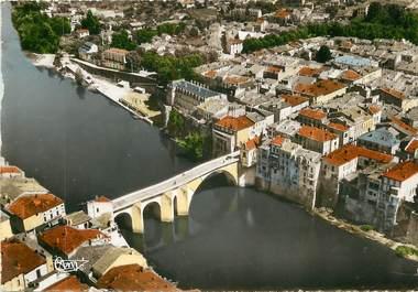 """/ CPSM FRANCE 47 """"Villeneuve sur Lot, le pont vieux sur le lot"""""""