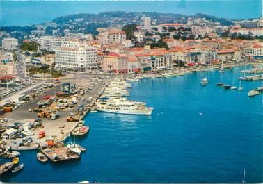 """/ CPSM FRANCE 06 """"Cannes, vue aérienne, le port et la plage du midi"""""""
