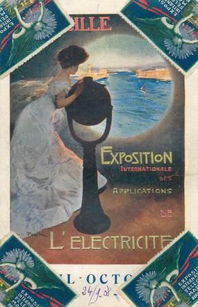 """CPA FRANCE   13 """"Marseille, Exposition de  l'Electricité, 1908"""" / VIGNETTE"""