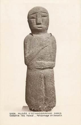 "CPA OCEANIE ""Iles Hawai, personnage en basalte"" / ARCHEOLOGIE"
