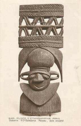 """CPA OCEANIE """"Nouvelle Calédonie, masque en bois sculpté"""" / ARCHEOLOGIE"""