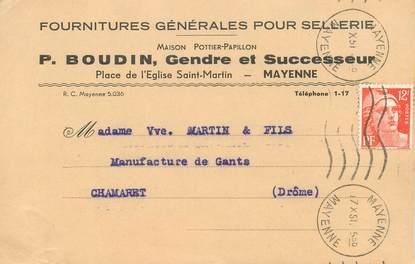 """CPA CARTE PUBLICITAIRE FRANCE 53 """"Mayenne, Fournitures générales pour Sellerie"""""""