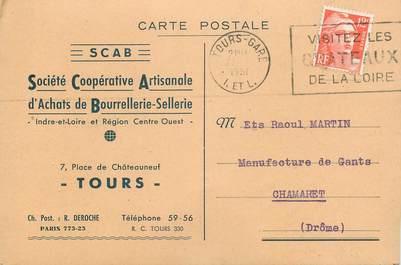 """CPA CARTE PUBLICITAIRE FRANCE 37 """"Tours, Bourrellerie Sellerie"""""""