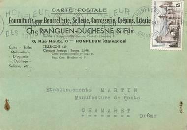 """CPA CARTE PUBLICITAIRE FRANCE 14 """"Honfleur, fournitures pour Bourrellerie, Sellerie Ets Ranguen Duchesne & Fils"""""""