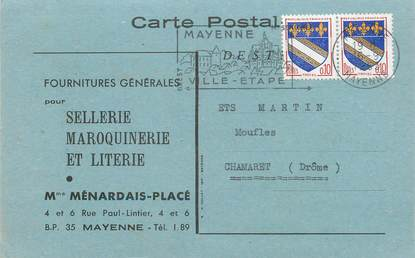 """CPA CARTE PUBLICITAIRE FRANCE 53 """"Chamaretn Fournitures générales pour Sellerie Maroquinerie et Literie, Ménardais Placé"""""""