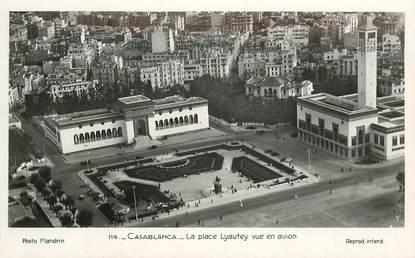 """CPSM MAROC """"Casablanca, la place Lyautey vue en avion"""""""