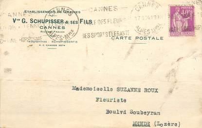 """CPA CARTE PUBLICITAIRE FRANCE 06 """"Cannes, Etablissements de graines, Schupisser et ses Fils"""""""