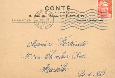 """CPA CARTE PUBLICITAIRE FRANCE 75006 """"Paris, CONTE"""""""