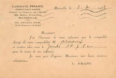 """CPA CARTE PUBLICITAIRE FRANCE 13 """"Marseille, L. FRANC, compable"""""""