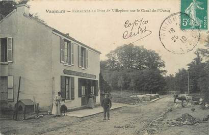 """/ CPA FRANCE 93 """"Vaujours, restaurant du pont de Villepinte sur le canal de l'Ourcq"""""""