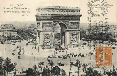 """/ CPA FRANCE 75008 """"Paris, l'arc de Triomphe et la tombe du Soldat inconnu"""" / FLAMME"""