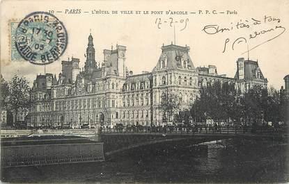 """/ CPA FRANCE 75004 """"Paris, l'hôtel de ville et le pont d'Arcole"""""""