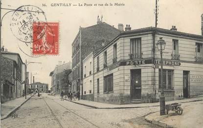 """/ CPA FRANCE 94 """"Gentilly, la poste et rue de la Mairie"""""""