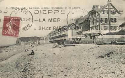"""/ CPA FRANCE 76 """"Pourville, la plage, la jetée promenade et les chalets"""""""
