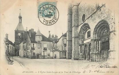 """/ CPA FRANCE 89 """"Avallon, l'église Saint Lazarre et la tour de l'Horloge"""""""