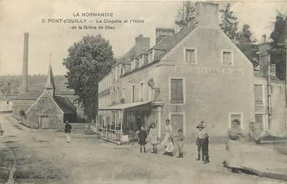 """CPA FRANCE 14 """"Pont d'Ouilly, la chapelle et l'Hotel de la Grâce de Dieu"""""""
