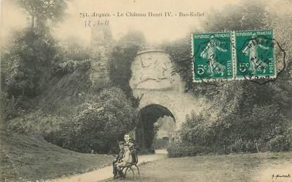"""CPA FRANCE 76 """"Arques, le Chateau Henri IVl"""" / CACHET AMBULANT Gournay à Dieppe"""