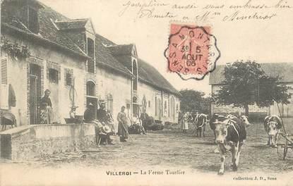 """CPA FRANCE 89 """"Villeroi, la Ferme Tourlier"""" / CACHET AMBULANT Sens à Montargis"""