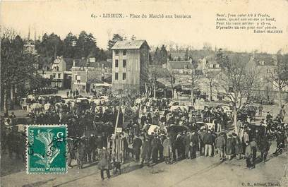 """CPA FRANCE 14 """"Lisieux, place du Marché aux bestiaux"""""""