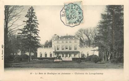 """CPA FRANCE 75016 """"Paris, Le bois de Boulogne Chateau de Longchamp"""" / CACHET AMBULANT Sannois à Paris"""