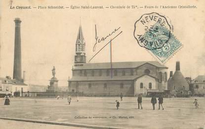 """CPA FRANCE 71 """"Le Creusot, Place Schneider"""" / CACHET AMBULANT Nevers à Chagny"""