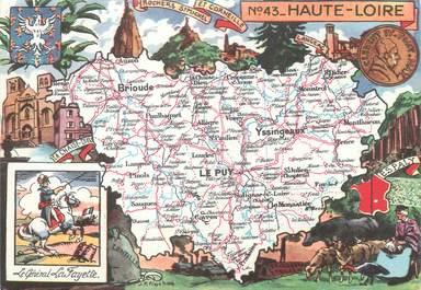 """/ CPSM FRANCE 43 """"Haute Loire"""" / CARTE GEOGRAPHIQUE"""