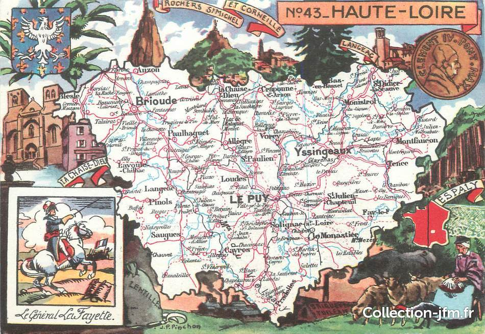 Cpsm france 43 haute loire carte geographique 43 for Haute loire carte