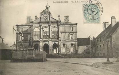 """CPA FRANCE 61 """"Sées, la mairie"""" / CACHET AMBULANT Caen au Mans"""