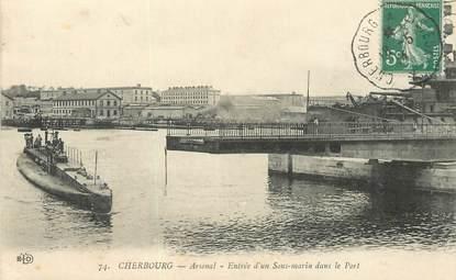 """CPA FRANCE 50 """"Cherbourg, sous marin""""  / CACHET AMBULANT Cherbourg à Lisieux"""