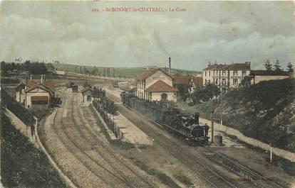 """CPA FRANCE 42 """"Saint Bonnet le Chateau, la gare"""""""