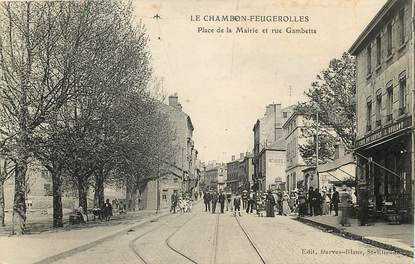 """CPA FRANCE 42 """"Le Chambon Feugerolles, Place de la mairie et rue Gambetta"""""""