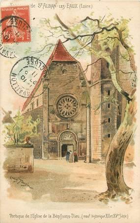 """CPA FRANCE 42 """"Env. de Saint Alban les Eaux, Eglise de la Bénissons Dieu"""""""