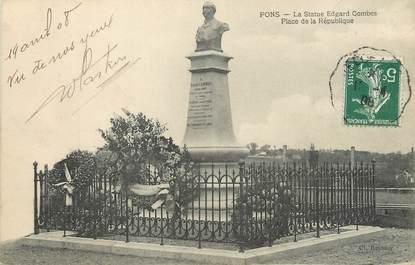 """/ CPA FRANCE 17 """"Pons, la statue Edgard Gombes, place de la république"""""""