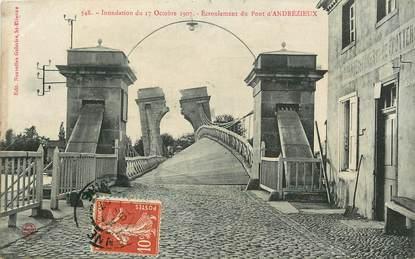 """CPA FRANCE 42 """"Inondation du 17/10/1907, Eboulement du Pont d'Andrézieux"""""""