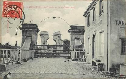 """CPA FRANCE 42 """"Inondation du 17/10/1907, Eboulement du Pont d'Andrézieux"""" / TABACS"""