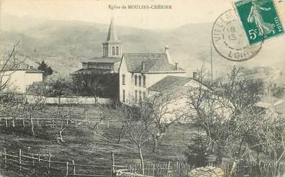 """CPA FRANCE 42 """"Moulins Chérier, L'Eglise"""""""
