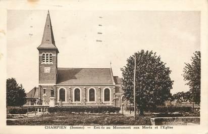 """CPA FRANCE 80 """"Champien, monuments aux morts et église"""""""