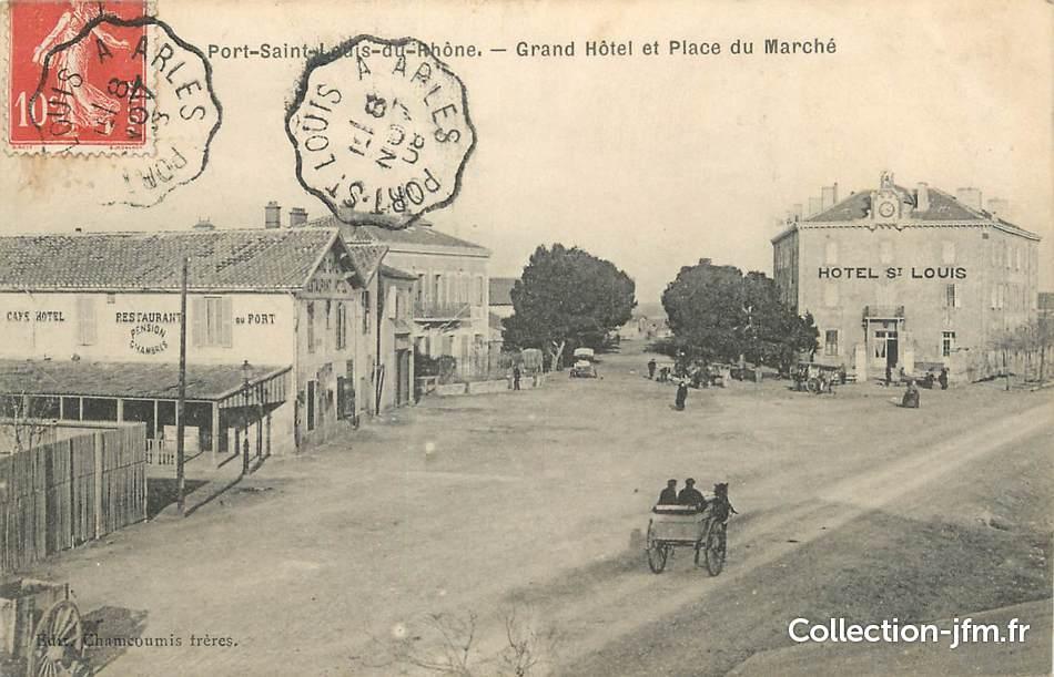 Cpa france 13 port saint louis du rh ne grand h tel et place du march 13 bouches du - Hotel francois port saint louis du rhone ...