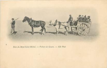 """/ CPA FRANCE 50 """"Baie du Mont Saint Michel, voiture de Genets"""" / ATTELAGE"""