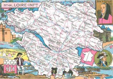 """/ CPSM FRANCE 44 """"Loire Inférieure"""" / CARTE GEOGRAPHIQUE"""
