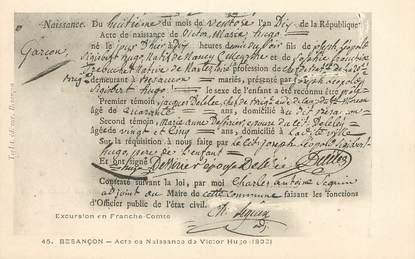 """/ CPA FRANCE 25 """"Besançon, acte de Naissance de Victor Hugo 1802"""""""