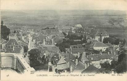 """/ CPA FRANCE 52 """"Langres, longe porte et l'hôpital de la Charité"""""""