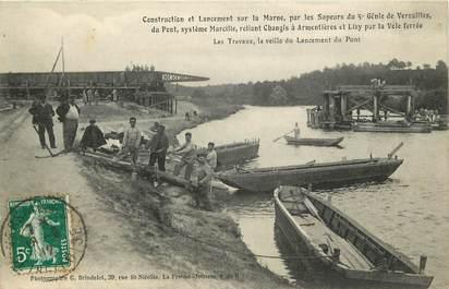 """CPA FRANCE 77 """"Changis, construction et lancement du pont"""""""